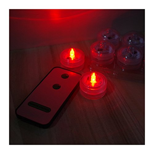 Remote Control LED Candle Tea Light Submersible Lamp,With Batteries,12 lights + 1 remote (red)
