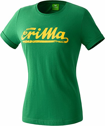 erima Damen Retro T-Shirt T-shirts & Polos, Smaragd/Gelb, 40