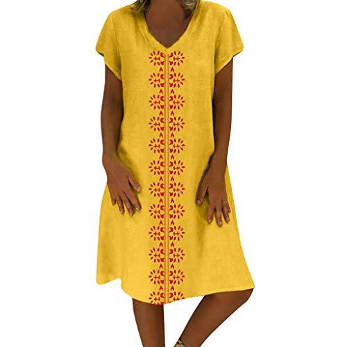 QIMANZI Kleider Damen Sommer StilV-Ausschnitt Gedruckt Baumwolle und LeinenBeiläufig Übergröße Kleid(A Gelb,3XL) 3/4 Sleeve Faux Wrap