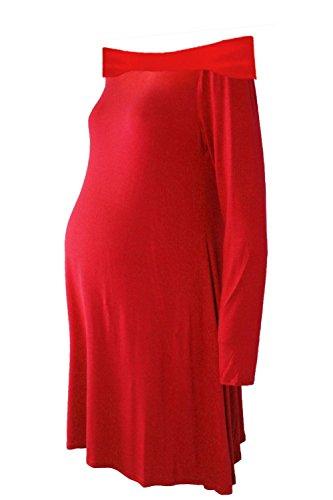 Janisramone Femmes Dames Nouveau Plaine hors L'épaule Bardot Longue Manche Maternité Évasé Balançoire mini Robe Haut Rouge