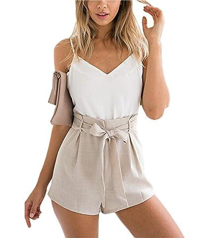 Minetom Damen Sommer Elegant V-Ausschnitt Rückenfrei Ärmellos Overall Playuit Jumpsuit Mädchen Freizeit Spleißen Mit Gürtel Weiß DE