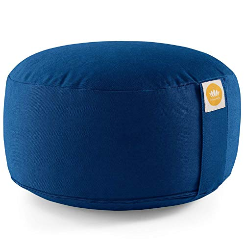 Lotuscrafts Yogakissen Meditationskissen Rund Lotus - Sitzhöhe 15cm - Waschbarer Bezug aus Baumwolle - Yoga Sitzkissen mit Dinkelfüllung - GOTS Zertifiziert (Himmelblau)