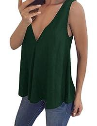 IMJONO Damen Plus Size Womens V Hals Tank Tops Cami ärmelloses T-Shirt  Weste Bluse f9b7adcb80