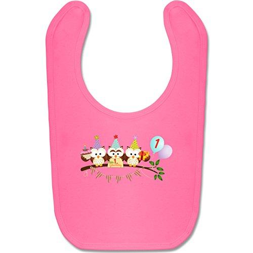 g Baby - 1. Geburtstag süße Party Eulen Erster - Unisize - Pink - BZ12 - Baby Lätzchen Baumwolle ()