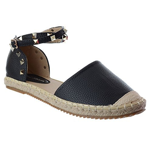 femmes dames plat bride cheville rock clou été espadrilles sandales chaussures pointure NOIR FAUX CUIR / rock clou