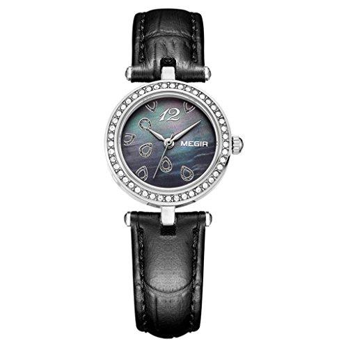 Xy-qxzb orologio femminile ultra sottile impermeabile al quarzo in acciaio inossidabile della vigilanza di cuoio della vigilanza , black , female