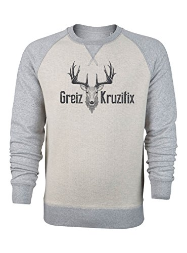 Greiz Kruzifix - Oktoberfest Kleidung Herren - Trachtenmode Outfit - Bayerischer Pullover - Hirsch-Kopf - Lederhose (M, Beige-Grau) (Hirsch Trachten Outfit)