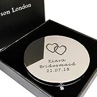 personalised Engraved Compact Mirror Handbag Silver Birthday Wedding Graduation