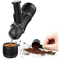 Sweet Alice Manuelle Espressomaschine Mini Manuelle Kaffeemaschine Tragbare Espresso Maschine Outdoor für Haus, Büro, Reise, im Freien, SCHWARZ
