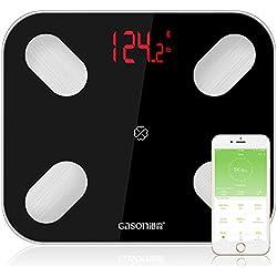 GASON S4 - Báscula para monitor de composición corporal con Bluetooth Android o iOS APP,Báscula de Baño Digital Analizar 14 datos físicos,Negro