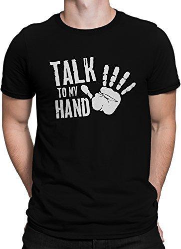 vanVerden Unisex T-Shirt XS-5XL Talk To My Hand / Handabdruck, Größe:S, Farbe:Schwarz/Weiß (Handabdruck Tee)
