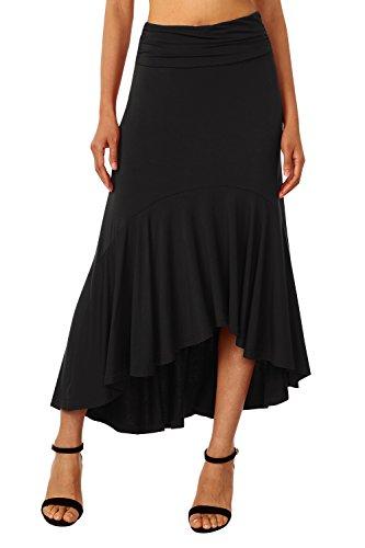 get cheap 8a694 5fc06 DJT Damen A-Linie Asymmetrisch Rock Lang Faltenrock Sommerrock Elastische  Taille Röcke