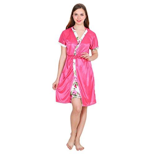 Kanika Satin Women Free Size Robe With Lingerie Set-Pink