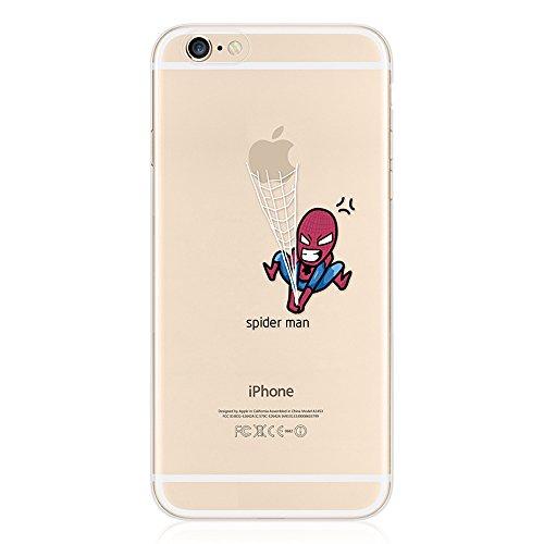 Leadtimes Iphone 6 / 6S/ 6P/ 6SP Creativ Logo Hülle Transparent Bildserie Weich Silikon Schutzhülle Anti- Stoß(6S/6, Wassermelone) Spiderman