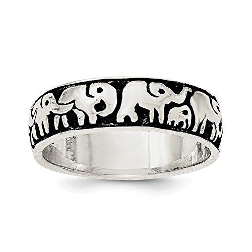 Plata esterlina oxidado anillo de elefantes - tamaño N 1/2 - JewelryWeb