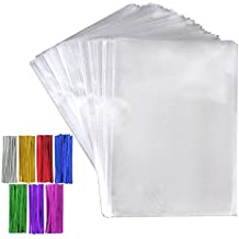 Tomnk 200pcs transparentes bolsas de caramelos, 16*23cm, 200pcs lazos de 7 colores, bolsa de embalaje para caramelo, pan, chocolate, jalea, bolsa de embalaje para la hornada