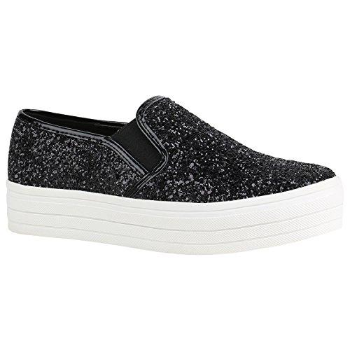 Stiefelparadies Damen Plateau Glitzer Slip-Ons Sneakers Modische Slipper 155738 Schwarz Weiss Glitzer 37   Flandell®
