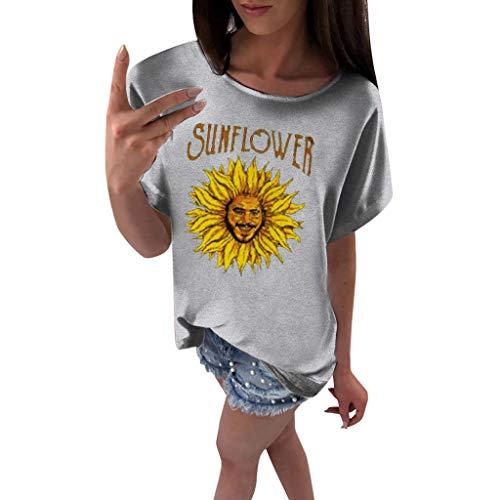 OVERDOSE Oberteile Frauen Kurzarm Blumen Gedruckt Tops Strand Beiläufige Lose Bluse Top T-Shirt Blusentops Sommerbluse Damen Tees (EU-38/CN-M, X-g-grau) -