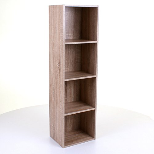 Marko Storage Solutions 1/2/3/4 Tier Wooden Storage Cubes Bookcase Shelving Shelves Display Unit Shelf (4 Tier, Oak Effect)