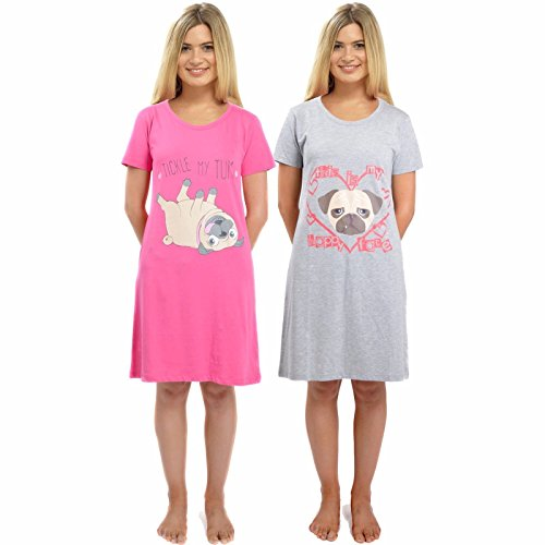 Foxbury Ladies Pug Nightdress Nightwear Cotton Jersey Night Shirt Short Sleeve Nightie