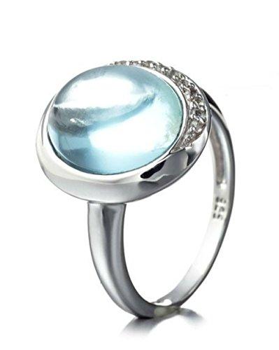 Silvancé - Damen Ring - 925 Silber, rhodiniert - echter Edelstein: Blautopas ca. 2.3ct. - R12238BT_SSR / Gr. 57 (18.1)