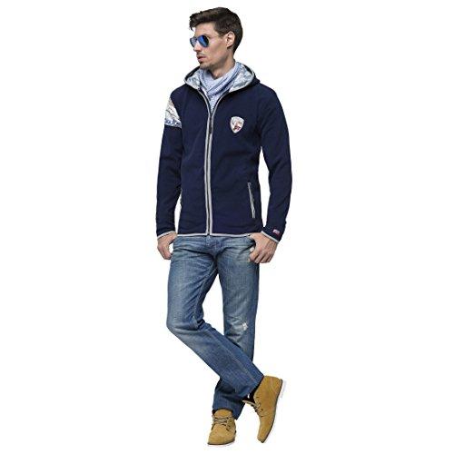 T305 - Giacca di pile CANYON, Felpa con Cappuccio, giacca, cappuccio Blu Navy