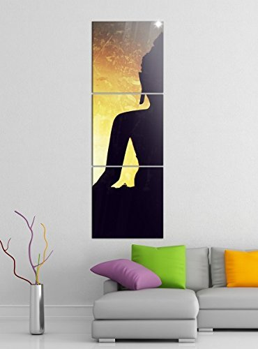 Leinwandbild 3tlg Buddha Buddhismus Feng Shui Religion Bilder Druck auf Leinwand Vertikal Bild Kunstdruck mehrteilig Holz 9YA3911, Vertikal Größe:Gesamt 40x120cm
