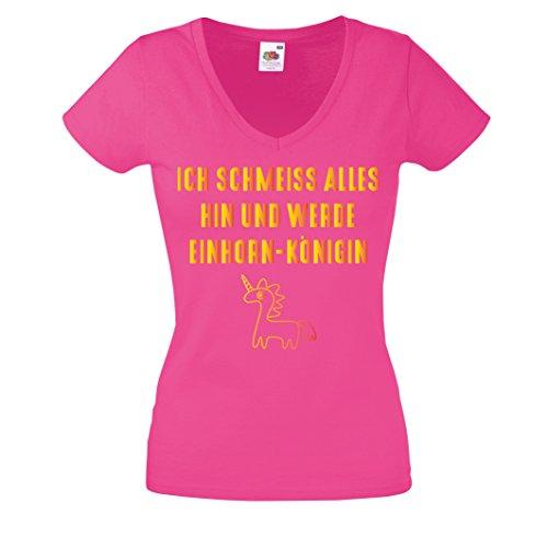 Damen Shirt V-Neck ICH SCHMEISS ALLES HIN UND WERDE EINHORN KÖNIGEN T-Shirt Damen Gr. S - XXL PINK-GOLD