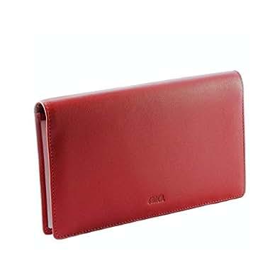 Porte-chéquier cuir rouge/bordeaux N1906 Portefeuille femme Cuir de vachette
