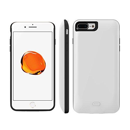 Batterie Coque iPhone 7 Plus / iPhone 8 Plus Cover, Forhouse Battery Externe Rechargeable Case Coque 3800 mAh Li-polymer Power Bank Portable Chargeur Batterie Pack Etui Housse Antichoc Smart Chargeur  Blanc