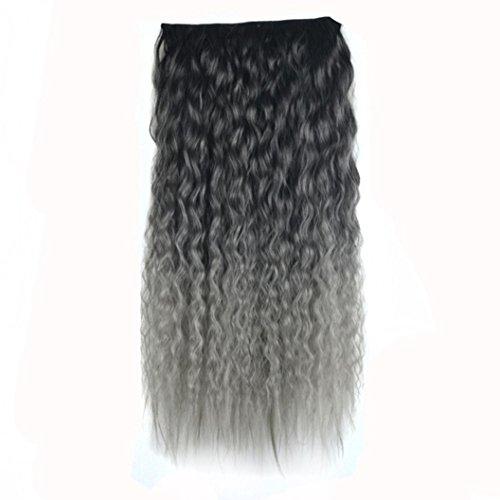 DRESS_start 5 Clips Farbverlauf Wellenförmige Curly Long Clip Haarverlängerungen 60cm (F)