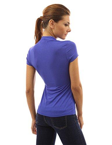 PattyBoutik Damen Bolero Bluse mit Knöpfen und kurzen Ärmeln Blau