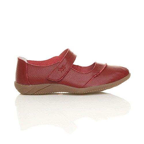 Damen Echtleder Breit Leder Ballerinas Geschlossene Slipper Arbeit Komfort Klettverschluss Schuhe Größe Dunkelrot tEX4pigSsY
