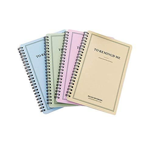 4 Pcs Notizbücher/Tagebuch A5/Notizen Buch Din A5 Campus Wirebound Spiralblock Junges Studentennotizbuch 60 Seite 80gsm Tagebuch Einfach Notizblock zu zerlegen(Pink,Cyan,Blau,Gelb)