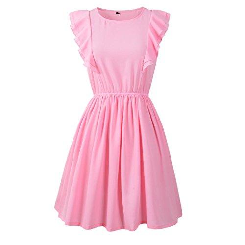 Longra Damen Kleider Festliche Kleider Elegante Abendkleid Cocktailkleid Kurzarm Sommerkleid Kruz Minikleid mit Volants auf den Ärmeln Strand-Urlaub Party Kleider Einfarbig (S, Pink) -