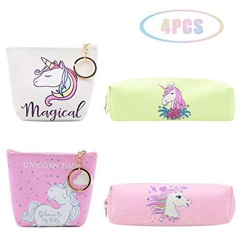 JUSTIDEA 2 mágico monedero unicornio de 2 unicornio estuche de lápices para niños bolsa de herramientas de maquillaje bolsa de almacenamiento para niños niñas adultos adolescentes 4 paquetes