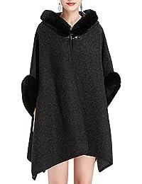 KAXIDY Abrigos Mujer Chaqueta Abrigo Moda Piel de Imitación Ponchos Abrigos para Primavera Otoño ...