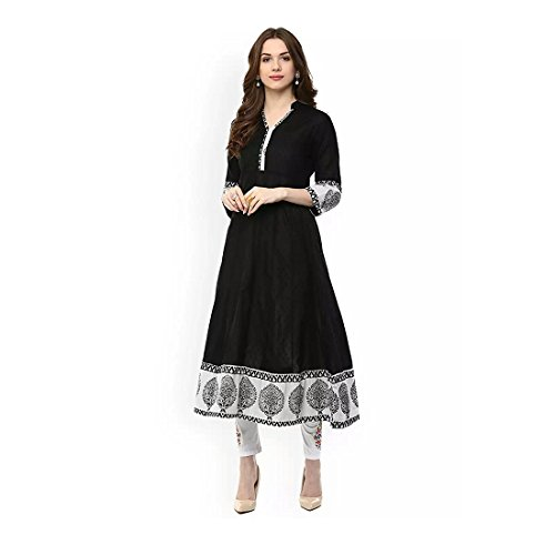 Indian Handicrfats Export AnjuShree Choice Women's Black Stitched Cotton Kurti Kurta (Size:- L) -