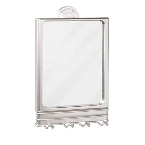 Interdesign Lineo Spiegel für Dusche oder Badezimmer mit Saugnapf und Rasierer Aufbewahrung Matte Satin