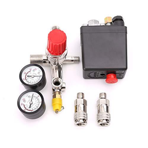 CARRYKT Air Compressor Pressure Control Switch Valve 0.5-1.25MPa with Manifold Regulator & Gauges -