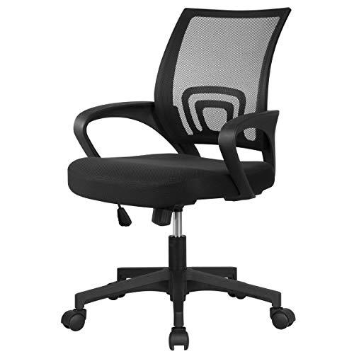 Yaheetech Bürostuhl Drehstuhl ergonomischer Schreibtischstuhl höhenverstellbar Chefsessel mit Rollen Große Sitzfläche Schwarz