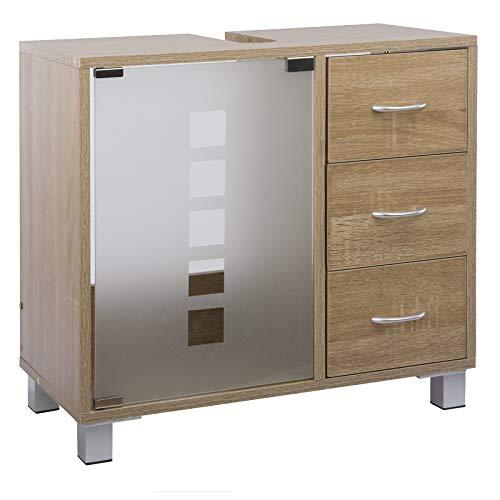 LIMAL Meuble de lavabo avec 3 tiroirs en Bois Sonoma Chêne 30 x 60 x 56 cm | Porte en Verre | Paroi arrière partielle | Découpe pour Siphon