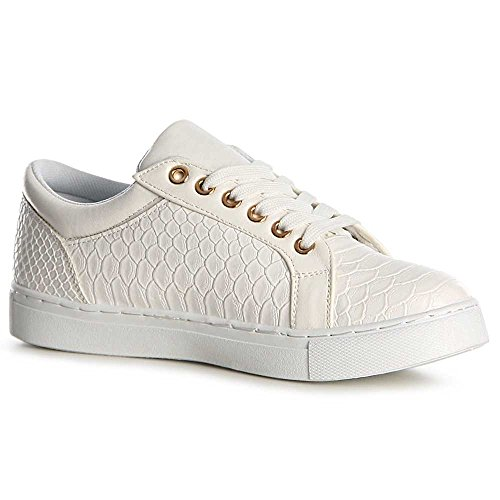 topschuhe24, Sneaker donna Bianco