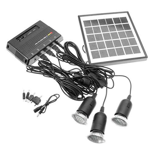 4W 6V Outdoor Solar Power Panel LED Light Lamp Charger Home Garden System Kit - Black (Kit Panel Home Solar)
