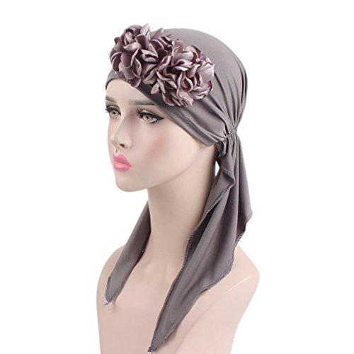 Mamum Turban Femme Mode Chic Été Foulard Bandana Hijab pour Chimio, Cancer, Douche, Maquillage, Chute Cheveux, Dormir (Gris)