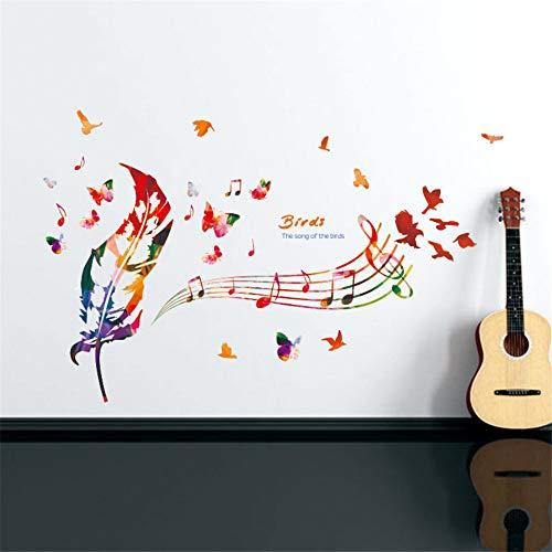 Zxfcczxf Bunte Feder Musik Hinweis Schmetterling Wandbild Poster Das Lied Der Vögel Wandaufkleber Zitat Abnehmbare Pvc Wandtattoo (Kinder Für Große Lieder Halloween)