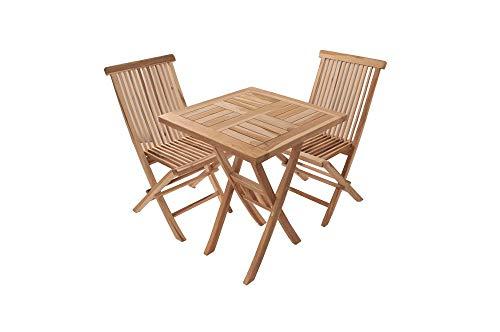 SAM 3tlg Balkongruppe Sunset, Teak-Holz Gartengruppe aus 1 x Tisch + 2 x Klappstuhl Menorca