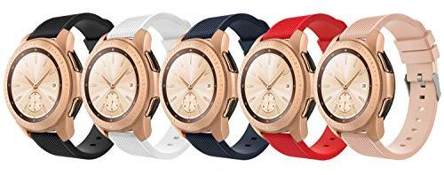TiMOVO Band for Samsung Galaxy Watch 42mm, [5-PACK] Soft Silicone Strap Fit Samsung Galaxy Watch Active/Gear Sport/Garmin Vivomove...