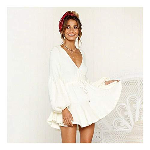 SHUCHANGLE Pullover Kleid Tief V-Ausschnitt Puff Ärmel Herbst Winter Kleider Frauen Beiläufige Elastische Taillen-Strickjacke-Kleid-Lange Hülsen-Gestrickte Kleid, Weiß, S -