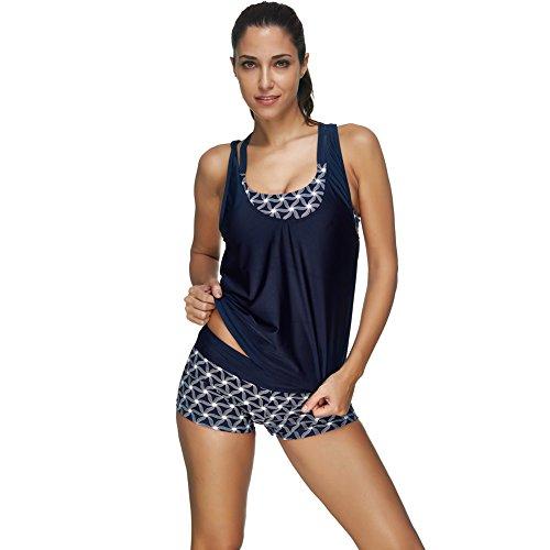 FeelinGirl Damen Tankini Bikini Set Streifen Badeanzug Swimsuit (L(EU 36), Blue)